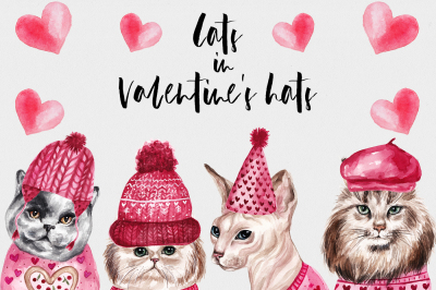 Watercolor Cats In Valentine's Hats