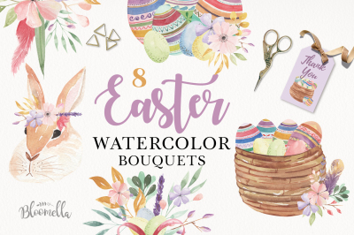 Easter Eggs Watercolor Floral Flowers Ribbons Rabbits Bunny Flowers