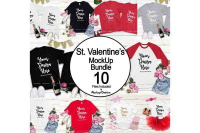 Valentine Tshirt Mockup Bundle, Valentine's Day Shirts Flat Lay