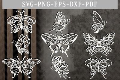 Butterfly Bundle Papercut Template Bundle, Spring Clipart SVG, DXF PDF