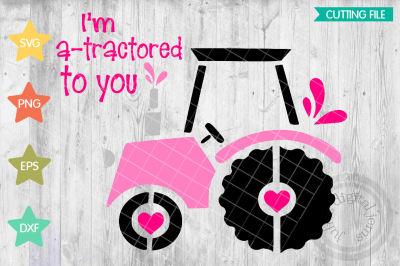 Tractor Valentine SVG, Valentines Day svg, heart svg, tractor svg