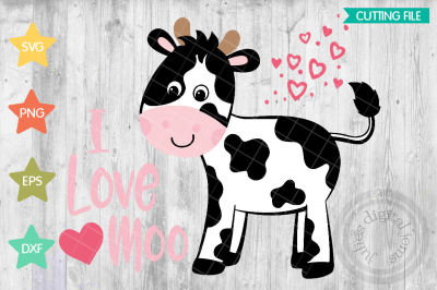 I Love Moo svg, Valentines Day svg, heart svg, Cow SVG, I Love You