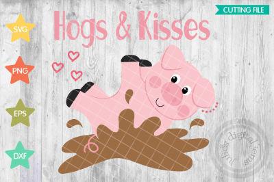 Hogs and kisses svg, Valentines Day svg, heart svg, Pig svg