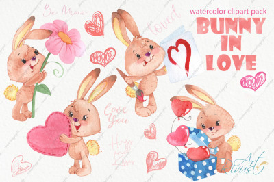 Watercolor bunny and hearts clip art pack