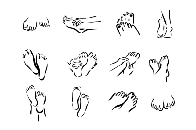 Vector foot care icons illustration