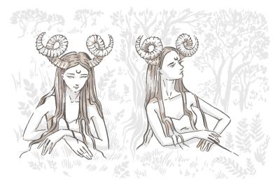 Devil girl character hand drawn illustration