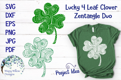 Lucky Four Leaf Clover Zentangle SVG Bundle
