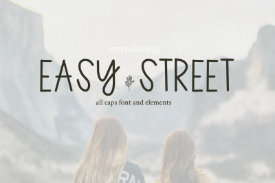 Easy Street All Caps Font and Elements