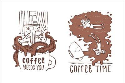 Creative cartoon print coffee illustrations.