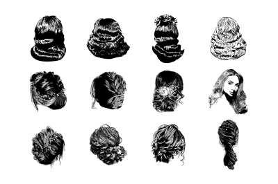 Set of vector woman hairstyles.
