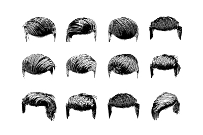 Set of vector man hairstyles