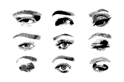 Hand drawn vector woman eye