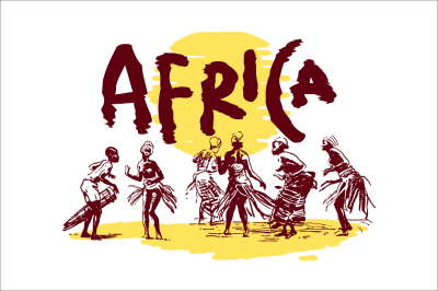Vector illustration of native ethnic black skinned people