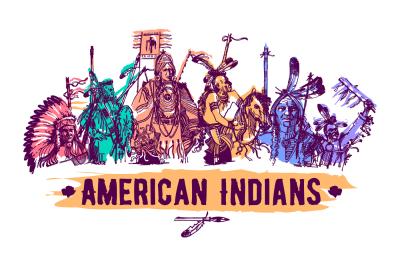 American native indians hand drawn vector illustration set