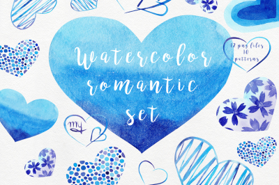 Watercolor Blue Hearts Collection