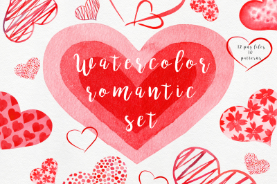 Watercolor Red Hearts Collection
