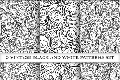Vintage black and white patterns mini-set