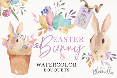 Easter Bunny Pastel Egg Watercolor Kit Bouquet Flowers Clipart Spring