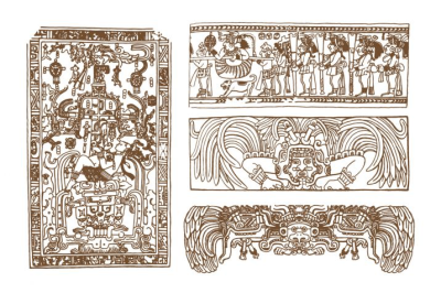 Vintage graphic maya glyphs, inca and aztec zodiac ornaments