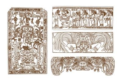 Vintage graphic maya glyphs, inca and aztec zodiac ornaments