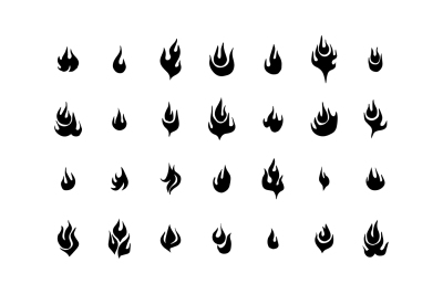 Fire flames, set vector icons.