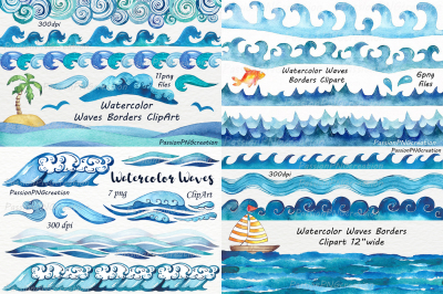 Big Set of Watercolor Waves Clipart