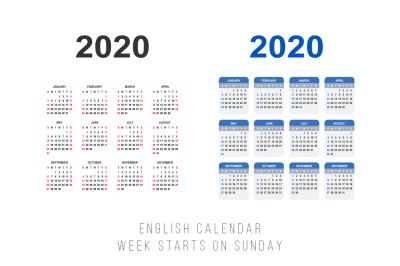 English calendar for 2020 year