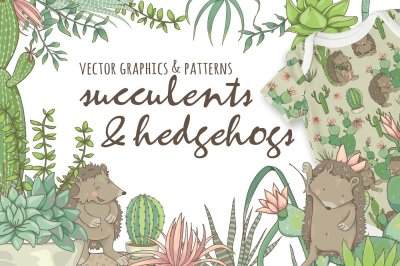 Succulents & Hedgehogs Graphic Set