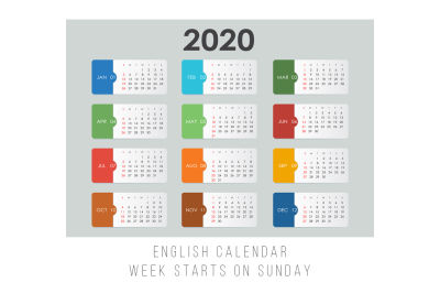 Minimal Colorful Calendar 2020