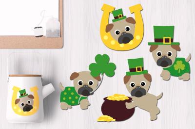 St Patrick's Day Irish Pugs