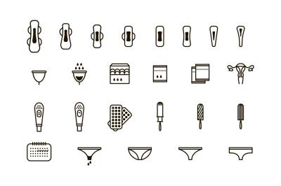 Feminine hygiene products icon set.