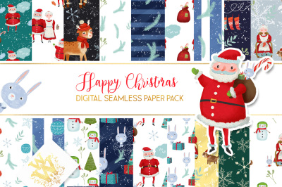 Christmas digital paper, New Year seamless pattern
