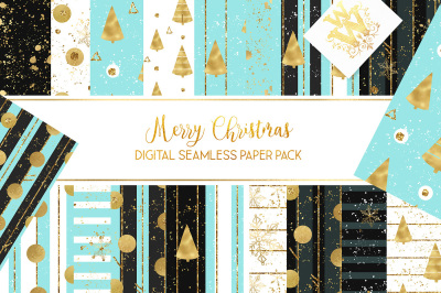 Winter seamless pattern, golden ornament Christmas