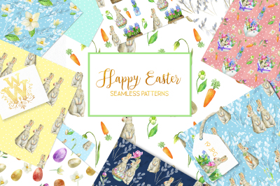 Cute Easter seamless pattern with bunny