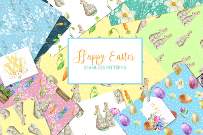 Watercolor Spring and Easter patterns