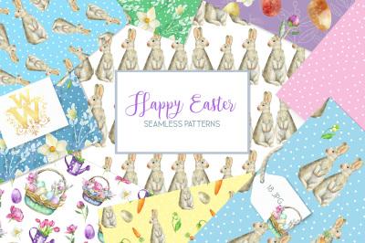 Watercolor Spring Easter digital paper