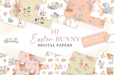 Easter Watercolor Bunny Egg Spring Digital Papers Seamless Patterns