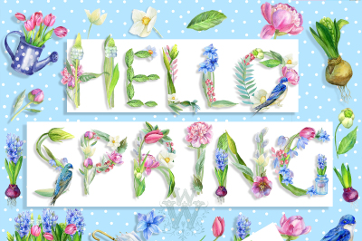 Watercolor Hello Spring clipart with cute swallow