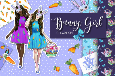 Bunny Girl watercolor spring and Easter clipart