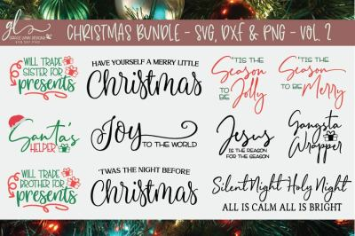 Christmas Bundle Vol 2 - 11 Designs - SVG, DXF & PNG