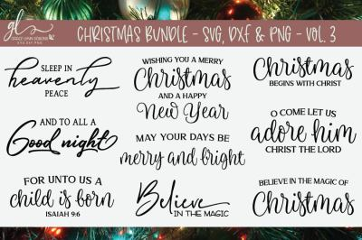 Christmas Bundle Vol. 3 - 9 Designs - SVG, DXF & PNG