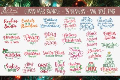 Huge Christmas Bundle - 25 Designs - SVG, DXF & PNG