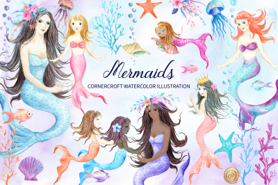 Watercolor mermaids illustration