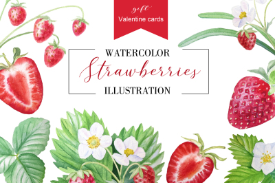 Watercolor strawberry + ready cards for Valentine's Day