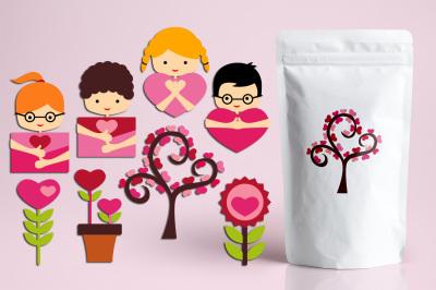 Valentine Kids and Flowers