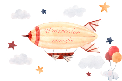 Watercolor aircraft set (PNG+PSD)
