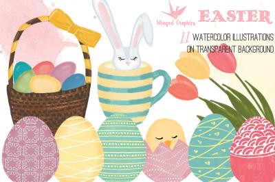 HAppy Easter set of 11 digital illustrations