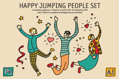 Happy jumping people set