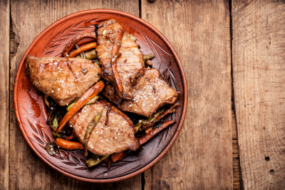 Beef steak with and grilled vegetables