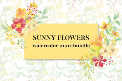 Sunny Flowers: watercolor mini-bundle